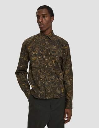 Dries Van Noten Button Up Poplin Shirt in Kaki