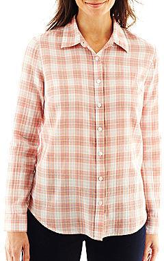 Liz Claiborne Long-Sleeve Button-Front Plaid Shirt