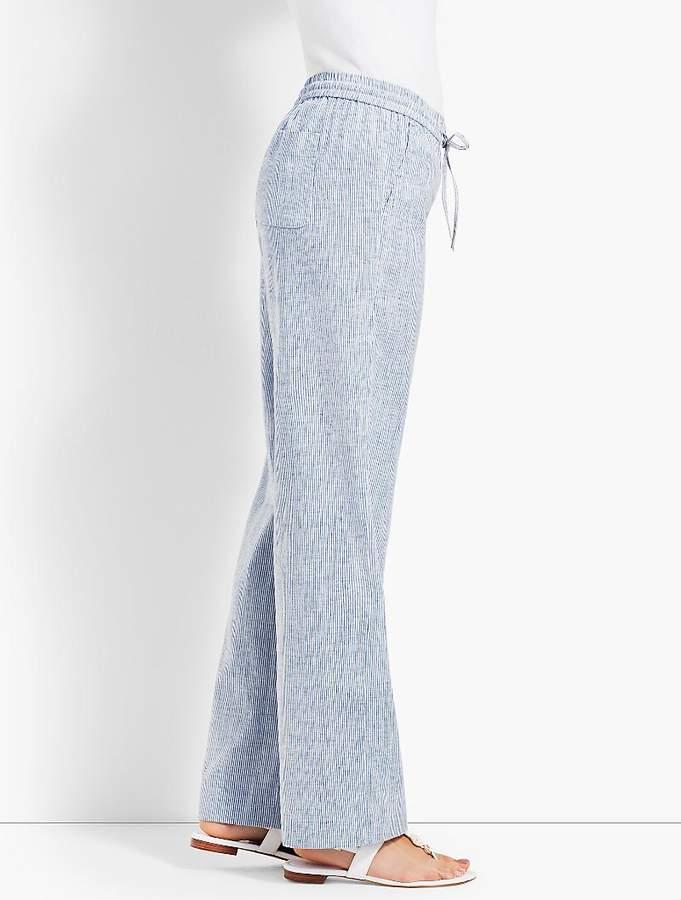 Stripe Linen Wide-Leg Pant