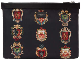 Dolce & Gabbana Black Nylon Crest Pouch