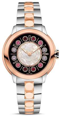 Fendi IShine Rotating Gemstones Two-Tone Watch, 38mm