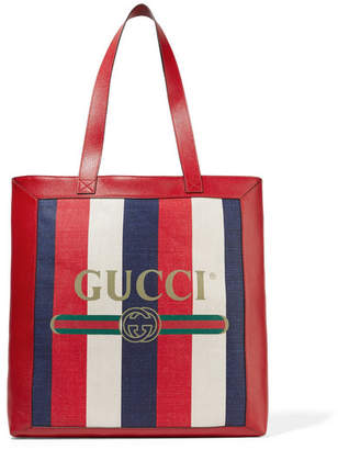Gucci Leather-trimmed Striped Canvas Tote - Red