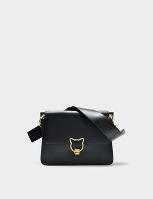 Karl Lagerfeld Kat Lock Shoulder Bag in Black Smooth Calf Leather