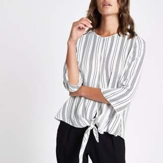 River Island Cream stripe tie front blouse