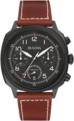 Bulova 42.5mm Classic Men's Chronograph Watch w/ Leather Strap