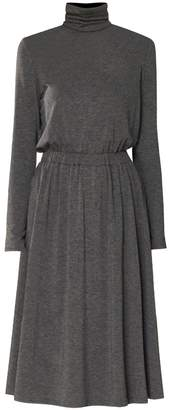 PAISIE - Turtleneck Jersey Dress With Elastic Ruched Waistband In Grey