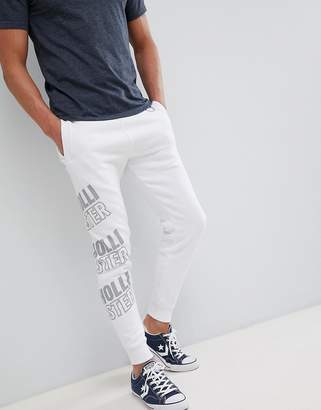 Hollister All Over Print Logo Super Skinny Joggers In White