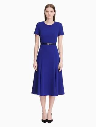 Calvin Klein belted short sleeve a-line dress