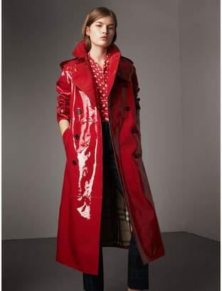 Burberry Raglan-sleeve Patent Lambskin Trench Coat