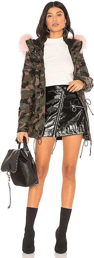 Camo Mini Hudson Jacket With Raccoon Fur