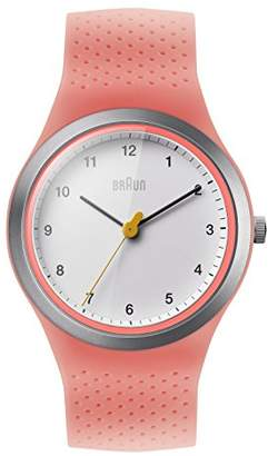 Braun Women's Quartz Watch with White Dial Analogue Display and Pink Silicone Strap
