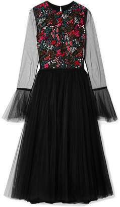 Carolina Herrera Embellished Stretch-tulle Midi Dress - Black