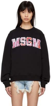 MSGM Black Tie-Dye Logo Sweatshirt