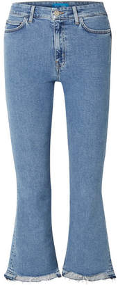 MiH Jeans Marty Cropped High-rise Flared Jeans - Mid denim