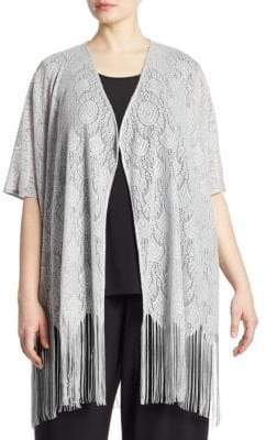 Caroline Rose Fringe Benefit Metallic Crochet Cardigan