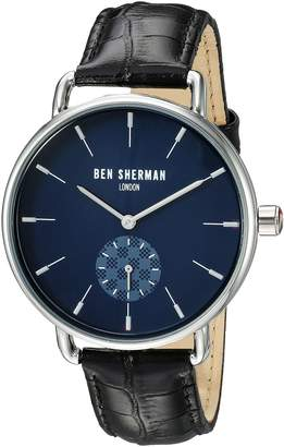Ben Sherman Men's Quartz Metal and Leather Casual Watch, Color:Black (Model: WB063UB)