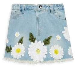 Little Girl's Floral Denim Skirt