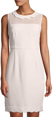 Karl Lagerfeld Paris Scalloped-Collar Illusion Sheath Dress