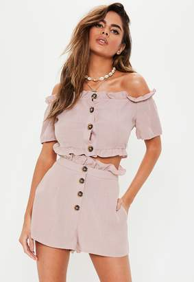 Missguided Petite Pink Mock Horn Button Frill Co-Ord Shorts