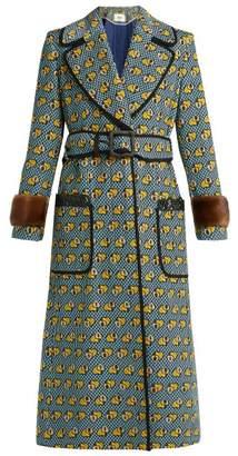 Fendi Heart Print Fur Trimmed Cotton Blend Coat - Womens - Multi