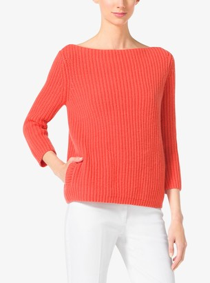 Michael Kors Shaker-Stitch Cashmere Boatneck Sweater