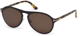 Tom Ford Bradbury Metal Aviator Sunglasses, Shiny Black/Tortoise/Brown