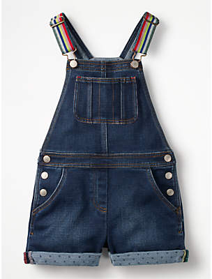 Boden Mini Girls' Denim Dungaree Shorts, Blue