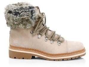 Sam Edelman Bowen Bistro Suede and Faux Fur Hiking Boots