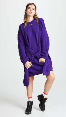 MSGM Tie Front Sweatshirt Dress