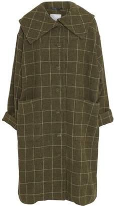 Mcverdi Oversize Checkered Wool Coat In Olive