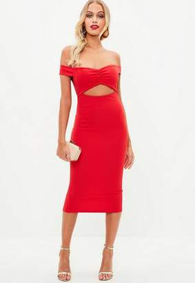 Missguided Red Ruched Bust Off Shoulder Midi Dress
