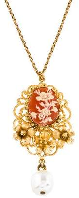 Dolce & Gabbana Cameo & Faux Pearl Pendant Necklace