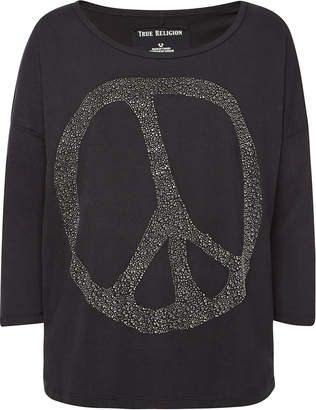 True Religion Cotton Long Sleeved Top with Crystals