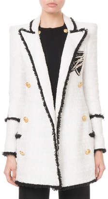 Balmain Long Double-Breasted Tweed Patchwork Jacket