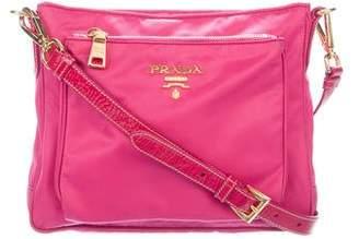 Prada Patent Leather-Trimmed Tessuto Crossbody Bag