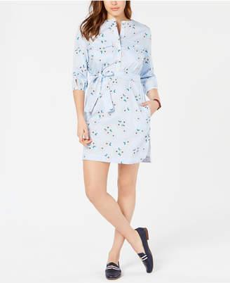 Tommy Hilfiger Cotton Printed Collarless Shirtdress