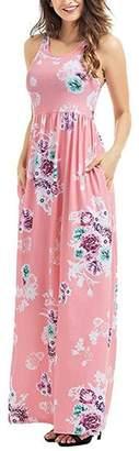 Walant Women's Sexy Flower Printed Sleeveless Maxi Dress