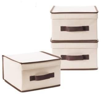 StorageManiac Medium Polyester Canvas Storage Box with Lid, Foldable Storage Bins, Pack of 3