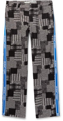 Off-White Off White Webbing-Trimmed Checked Cotton-Blend Trousers - Men - Gray