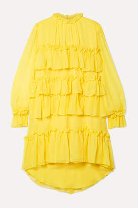ADAM by Adam Lippes Tiered Ruffled Silk-chiffon Mini Dress - Bright yellow