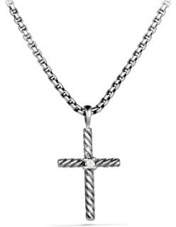 David Yurman Cable Classics Cross with Diamond on Chain $325 thestylecure.com