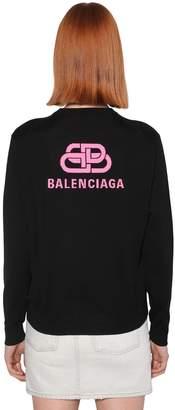 Balenciaga BACK LOGO WOOL KNIT CREWNECK SWEATER