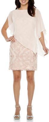 Studio 1 Sleeveless Floral Cape Sheath Dress