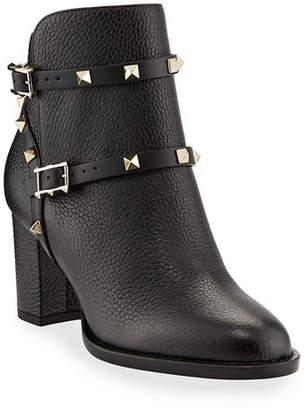 Valentino Rockstud Leather 70mm Chunky-Heel Bootie