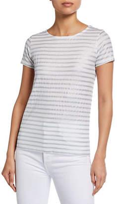 Neiman Marcus Majestic Paris for Linen Metallic Striped Short-Sleeve Button-Back Tee
