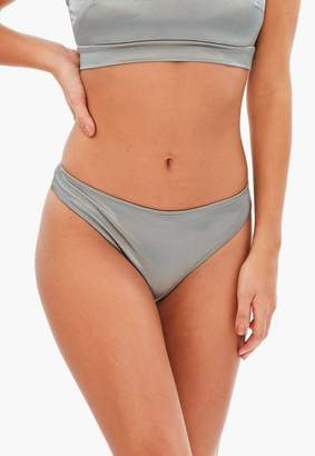 Missguided Silver Satin Thong