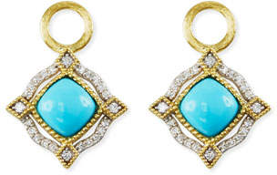 Jude Frances Lisse 18K Delicate Cushion Turquoise Earring Charms with Diamonds