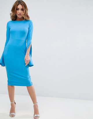 Asos Extreme Split Sleeve Scuba Crepe Midi Dress