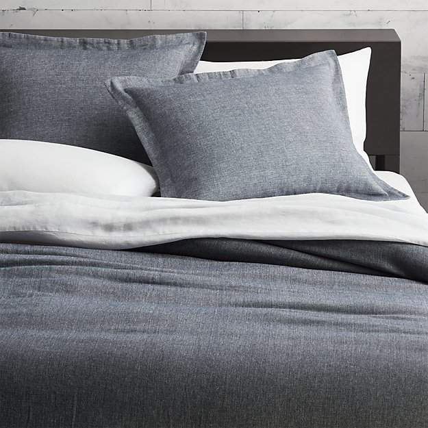 CB2 Weekendr Graphite Chambray Full/Queen Duvet Cover