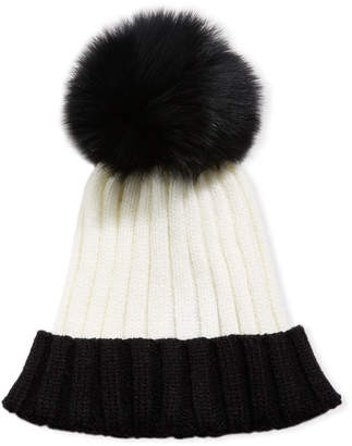 Adrienne Landau Colorblock Ribbed Beanie Hat with Fox Fur Pompom, Black/White